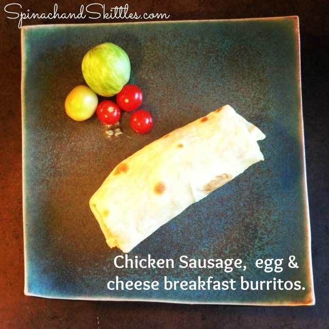 chicken sausage egg & cheese breakfast burritos